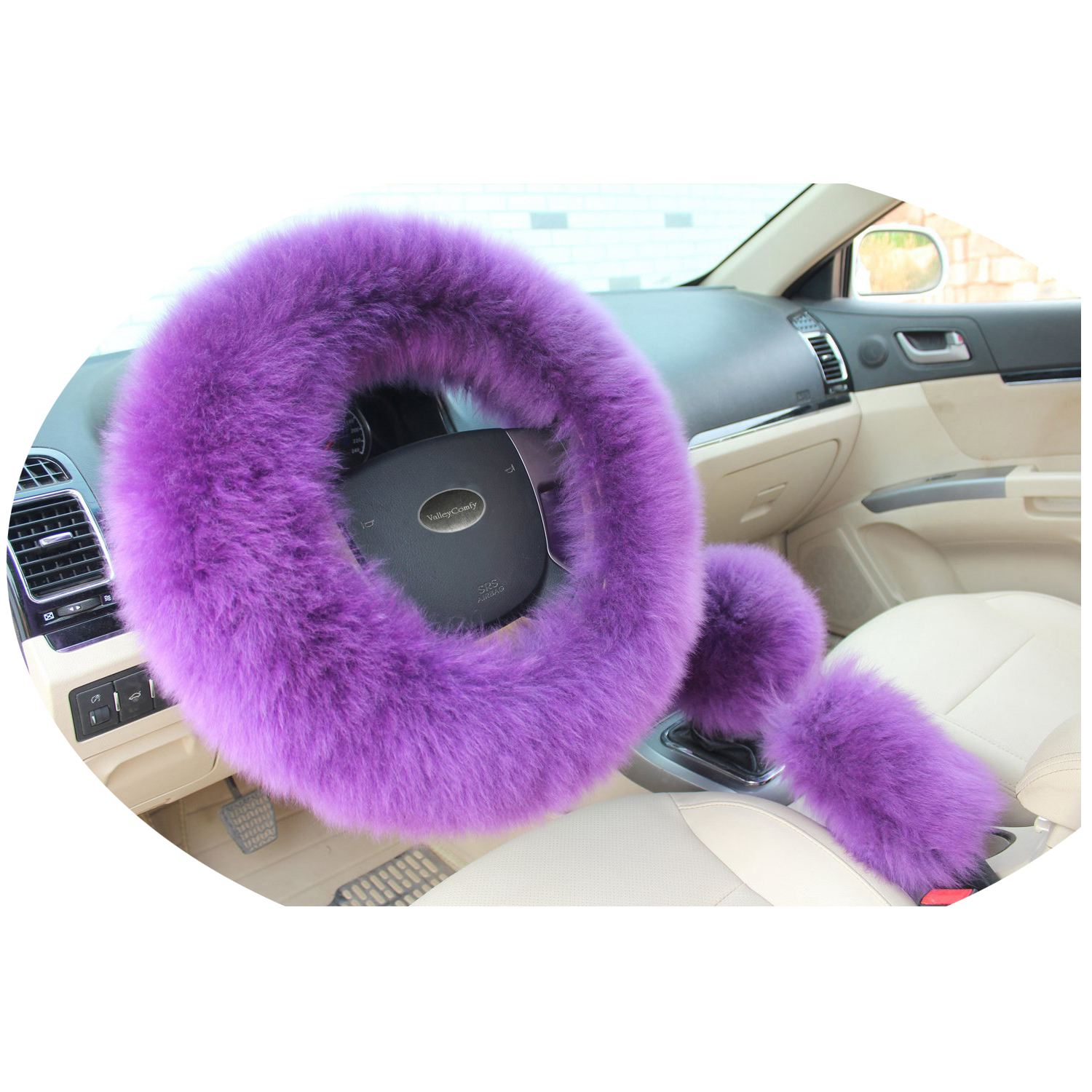 AUTO -Fashion Steering Wheel Covers for Women/Girls/Ladies Wool 15 Inch 1 Set 3 Pcs, Purple
