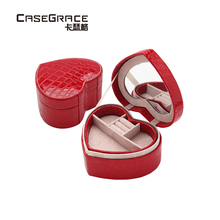 ФОТО casegrace valentine's day gift heart shaped girl jewelry storage boxes leather necklace rings makeup organizer bin women 01108