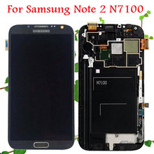 100% Warranty for Samsung Galaxy Note 2 N7100 LCD Display Touch Screen Digitizer with Frame Assembly Replacement