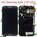 Garantía 100% para samsung galaxy note 2 n7100 pantalla lcd de pantalla táctil digitalizador con reemplazo del conjunto del marco