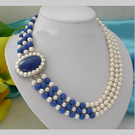 Pearl Necklace,Classic 3 Rows 7-8mm Round White Freshwater Pearls Blue Lapis-es Necklace,Perfect Women Chirtstmas Gift pearl necklace classic 3 rows 7 8mm round white freshwater pearls green ja des necklace perfect women chirtstmas gift