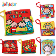 Jollybaby Baby Soft Cloth Books Peek A Boo Activity Crinkle Cover Book Educational Infant bebe Toys