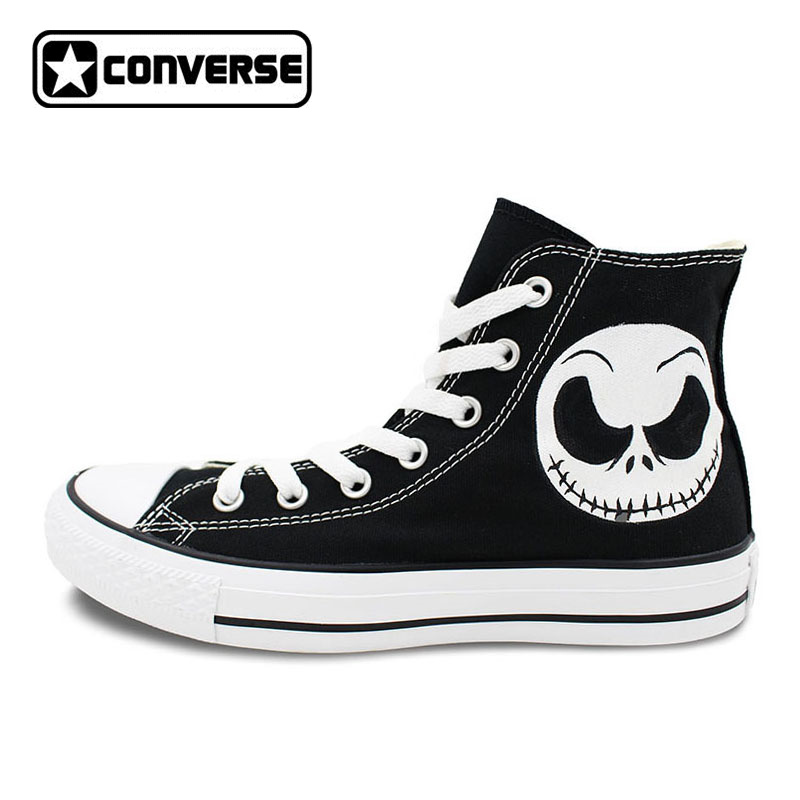 Nightmare Before Christmas Skull Black Converse Chuck Taylor Hand Painted Women Men Shoes Man Woman High Top Canvas Sneakers