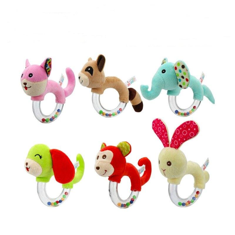 Baby Cartoon Rabbit Elephant Plush Rattle Ring Bells Newborn Hand Toys Soft Mobile Animals Dolls Peluche Hochet Brinquedos