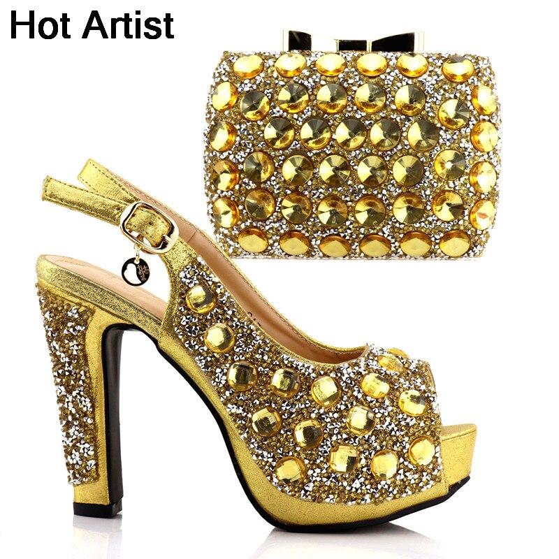 Hot Artist High Quality Gold Color Rhinestone African High Heels And Bag Set Hot Sale Elegant Pumps Shoes And Bag Set TX-SA777 hot sale and high quality cnidium fruit extract fructus cnidii osthole 98