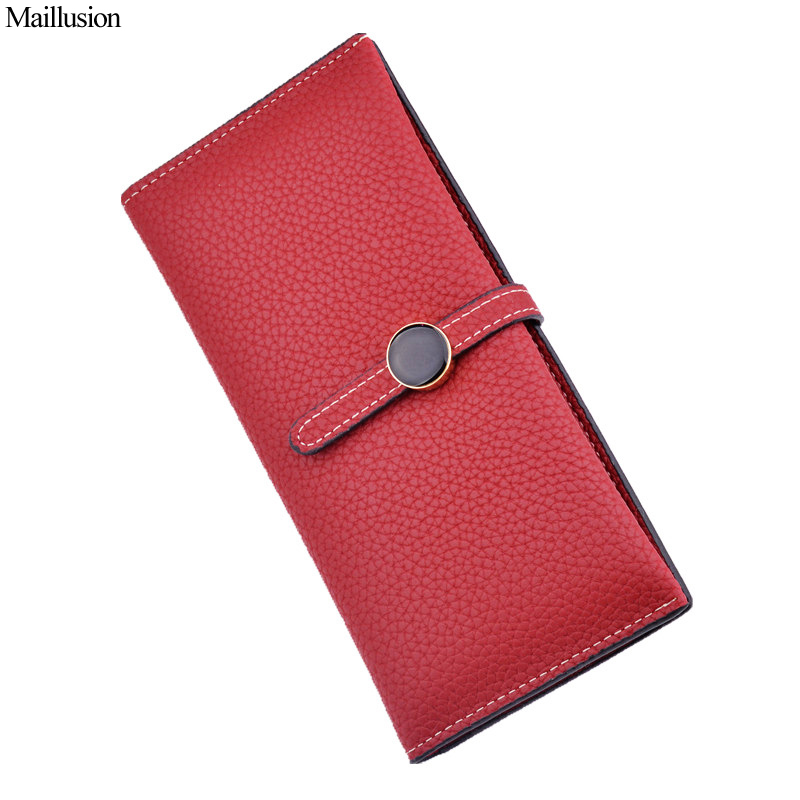 Maillusion Thin Leather Hasp Women Wallet Long Purse Vintage Solid Multiple Cards Holder Clutch Fashion Two Fold Standard Wallet