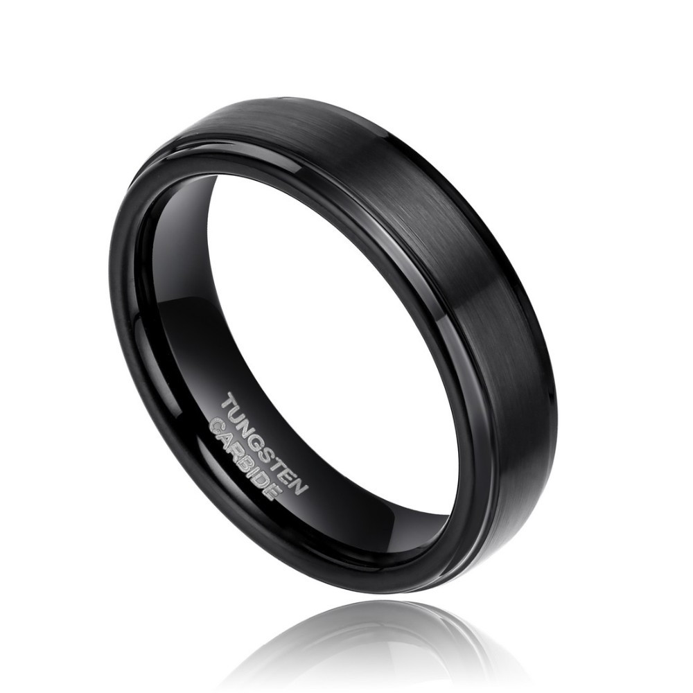 Buy Free Shipping 6mm Brush Polished Tungsten Mens Womens Bands Comfort Fit Design Men's Black Tungsten Wedding Ring 5#-15# for $13.99 in AliExpress store