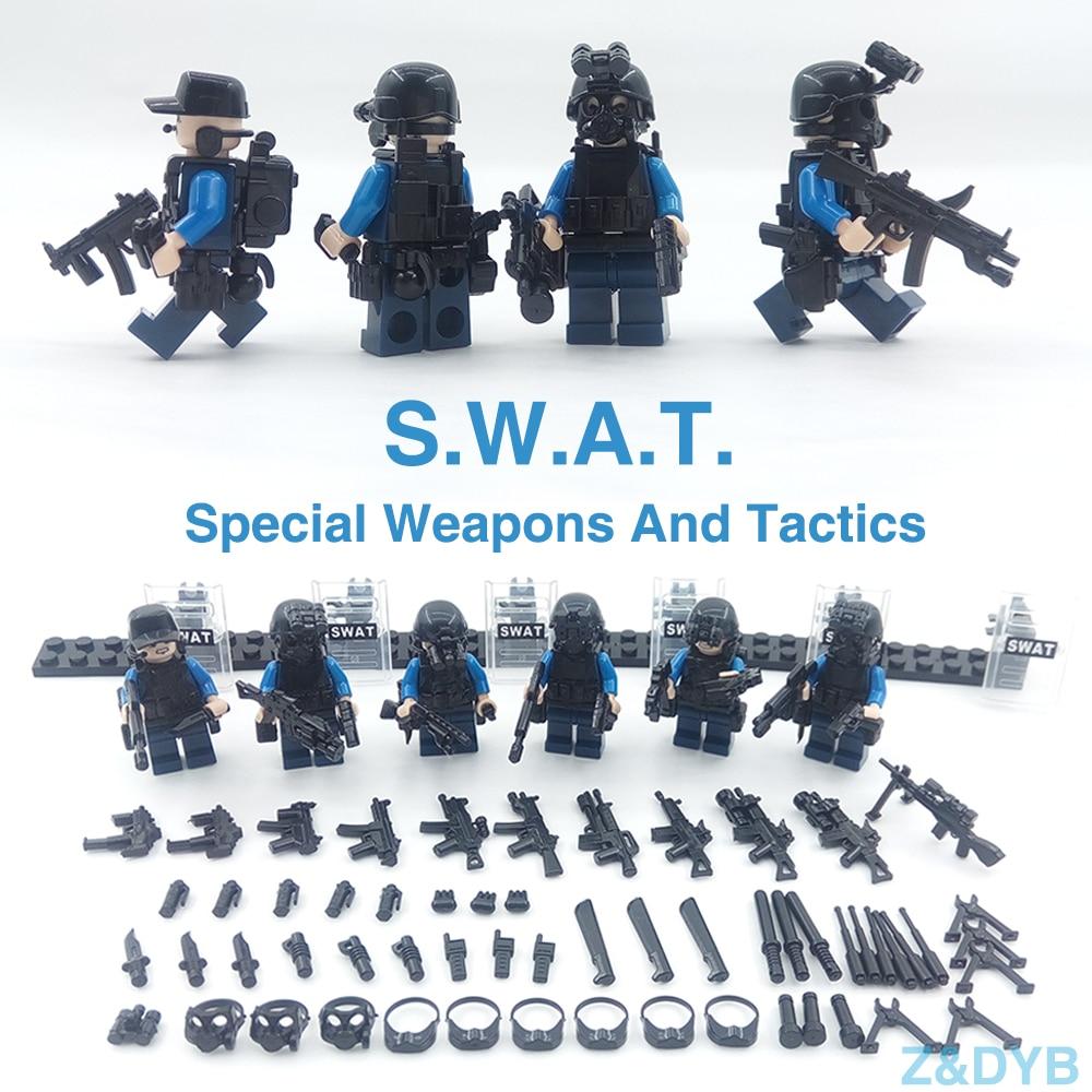215 unids/lote equipo SWAT ciudad policía militar figuras escena serie soldado arma bloques de construcción ladrillos legoed para niños juguete