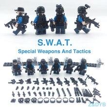 215 шт./лот SWAT команда город полиция Военная Униформа цифры сцены серии солдат армии пистолет оружие конструктор кирпич legoed для детей игрушка