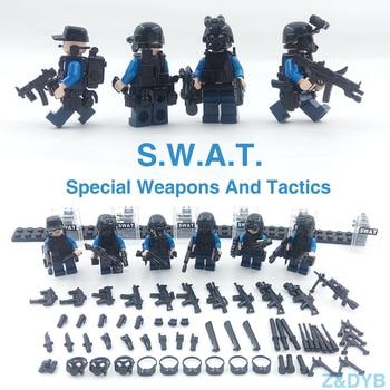 215PCS/Sets SWAT Team City Police Military Figures Soldier Army Gun Weapon Modern War Build Block Brick legoed For Children Toy