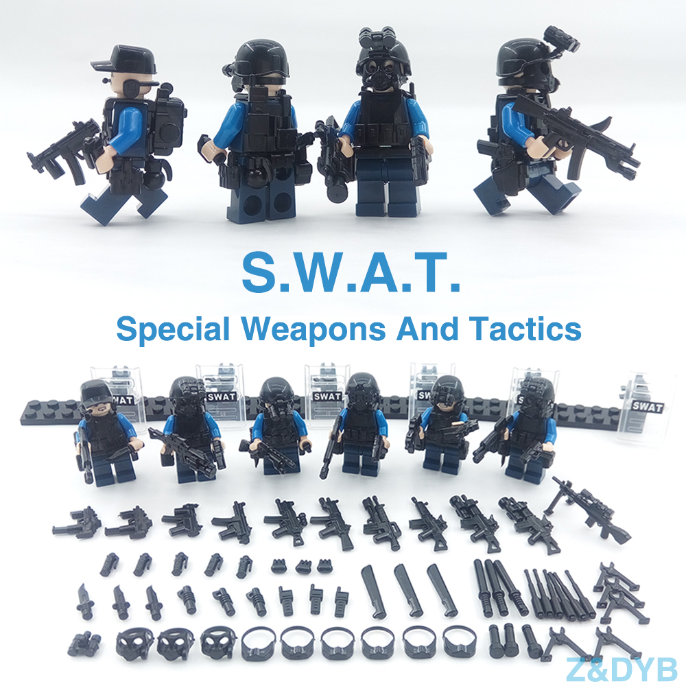 SWAT Team City Police Special Forces Soldier Army Guns Weapons Military Figure War Arms Build Blocks Brick Compatible legoed Toy new arrival city swat policeman special forces model police officer tactical unit minifigures building blocks bricks toy for kid
