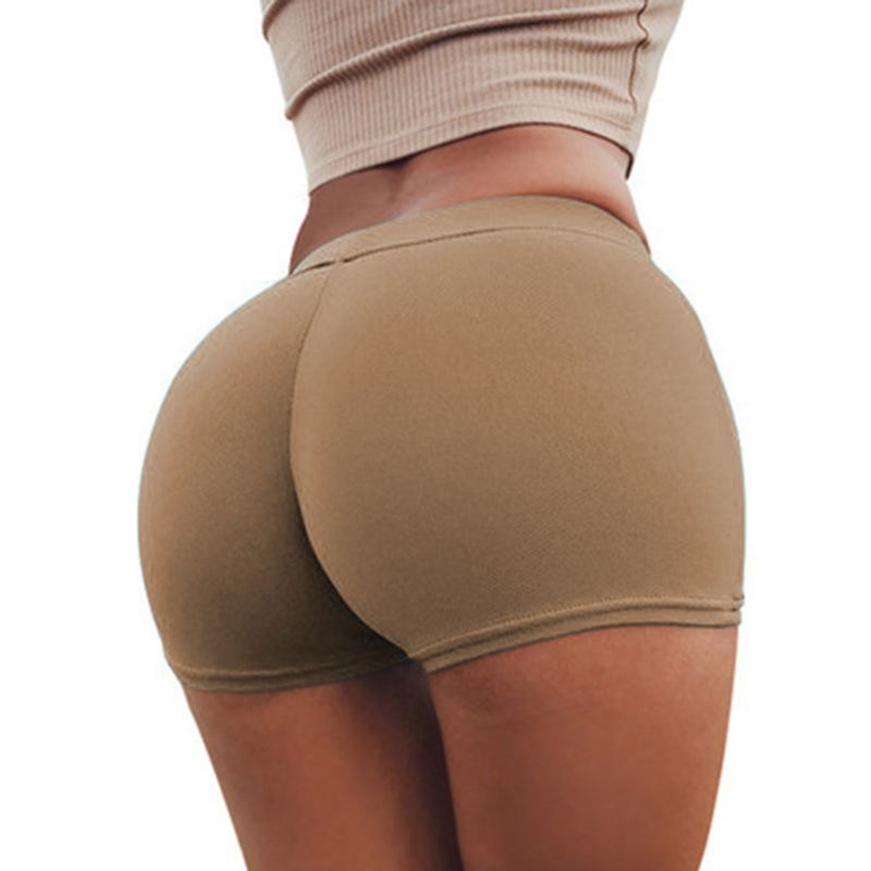 Women Summer High Waist Skinny Shorts Solid Color Package Hip Sports Gym Workout Compression Push Up Activewear(China)