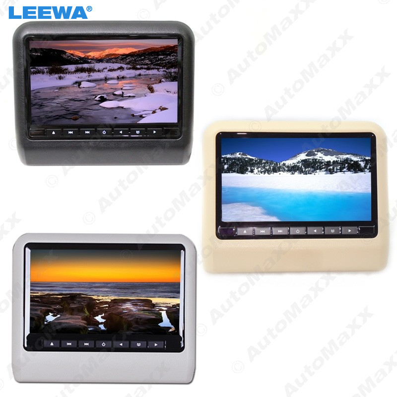 LEEWA 1pc black beige grey 99 Inch Universal Car Headrest Monitors Digital LCD AV HD Monitor With Remote Control #CA3857 цена