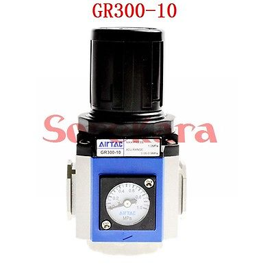 GR300-10 Port G3/8 Control Compressor Pressure Relief Regulator Valve AIRTAC Origin 1pc air compressor pressure regulator valve air control pressure gauge relief regulator 75x40x40mm