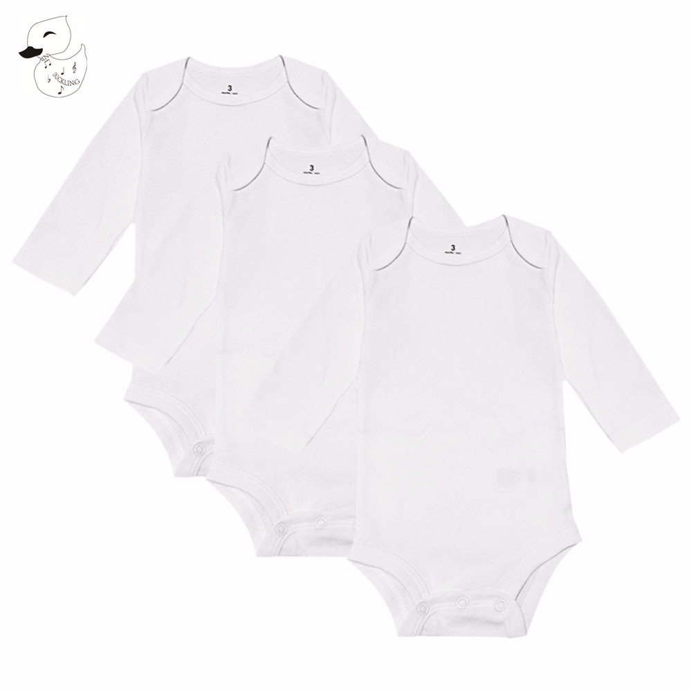 BINIDUCKLING 3PCS Newborns Baby Clothes Solid Color High Quality Cotton Baby Boys Girls Clothing Baby   Rompers   Coveralls Costume