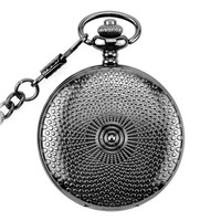 Black Vintage Pocket Watch Mechanical Men Women Necklace Pocket Watch With Chain Male Clock nightmare before christmas Gifts