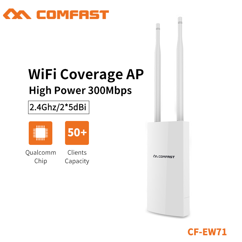 COMFAST 2.4G 500mW 2*5dbi External Antenna Wifi Base Station Outdoor Hight Power Wi-fi Coverage AP Repeater CF-EW71