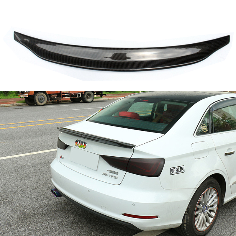 A3 S3 8V Carbon Fiber Rear Trunk Lip Spoiler Wing For Audi A3 S3 8V Sedan 2014-2016 for audi a3 s3 2014 2015 2016 sedan 4doors high quality carbon fiber rear wing roof rear box decorated rear spoiler