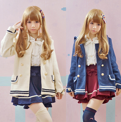 Adomoe New Winter Navy Blue Sailor collar Coat Jacket Fashion Japanese Cute Body line Wool Blends for girls Preppy style