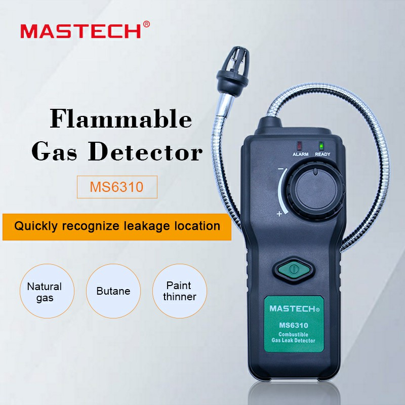 MASTECH MS6310 Portable Combustible Gas Leak Detector Tester Meter Propane Natural Gas Analyzer With Sound Light Alarm official ms6310 high accuracy combustible gas leak detector analyzer meter with sound light alarm analizador de gases page 1