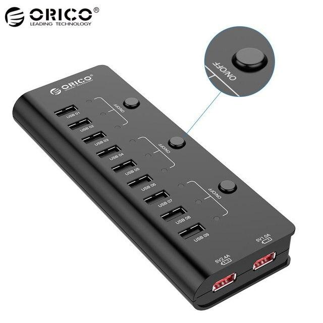 ORICO HF9US-2P-BK Alta Velocidad de 9 Puertos USB 2.0 Hubs 2 de Carga Adaptador de puerto con Interruptor de Alimentación 12 V 2.5A Adaptador de Carga de Energía de Nuevo