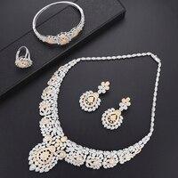 Missvikki знаменитые Роскошные ювелирные изделия серьги ожерелье браслет кольцо для женщин свадебные Полный Mirco кубический циркон серебро модн