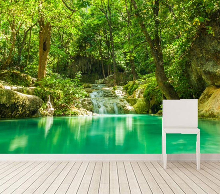 buy custom 3d murals tropics forests waterfall trees jungle nature wallpaper. Black Bedroom Furniture Sets. Home Design Ideas