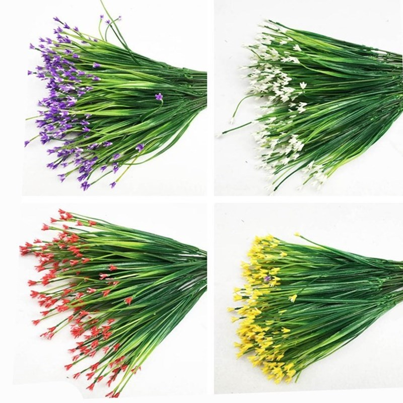 Red Purple 7-Fork Plastic Artificial Flowers Green Artificial Grass Plant Home Office Desk Decorative Leaves Party Decors Plants