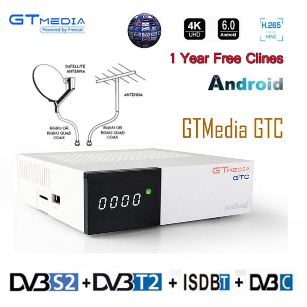 Freesat/GTmedia GTC Satellite Receiver <font><b>DVB</b></font>-<font><b>T2</b></font>/<font><b>S2</b></font>/Cable ISDBT <font><b>android</b></font> 6.0 2GB 16GB +1 Year M3U/cccam decoder PK X96MIMI <font><b>TV</b></font> <font><b>BOX</b></font> image