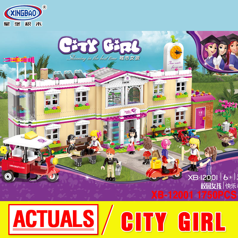все цены на XINGBAO 12001 New 1750Pcs City Girl Series The Happy Teaching Building Set Building Blocks Bricks birthday gifts