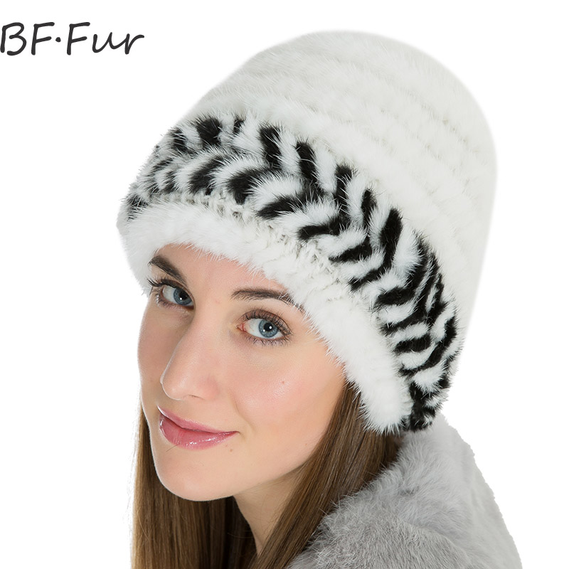 Womens Mink Fur Winter Warm Hat Female Knitted Cotton Animal Fur Cap Natural Color Lady Beanies White Casual Adult Warm Hats