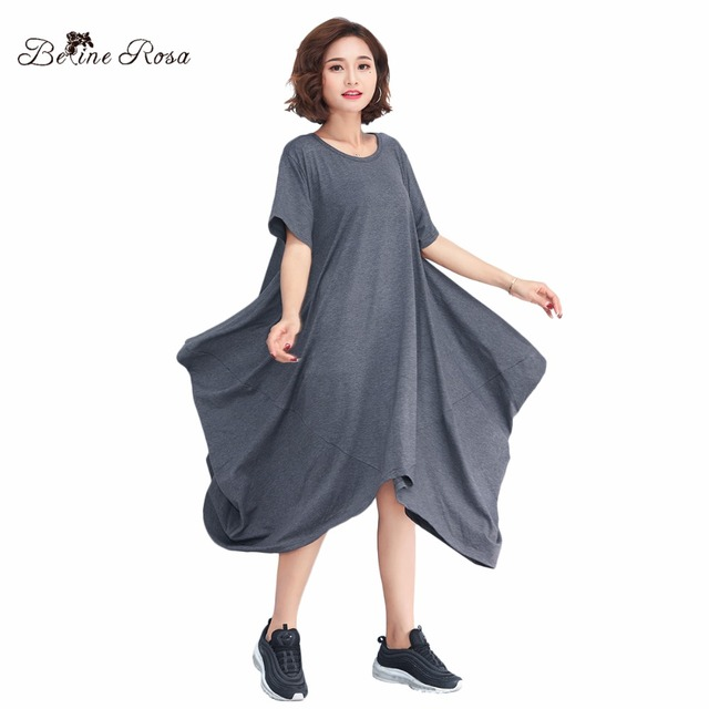 ff33b14603f BelineRosa 2018 Women s Shirt Dresses Casual Style Women Clothing Gray Color  Large Size Irregular Hem Women Clothes TYW00730
