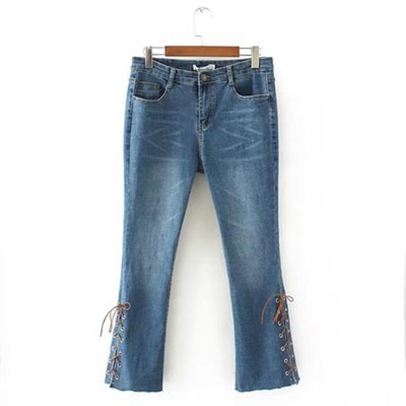 liva girl bell-bottom della meta di vita sottile disollevamento boot cut gamba larga flare jeans delle donne Elastic cowboy