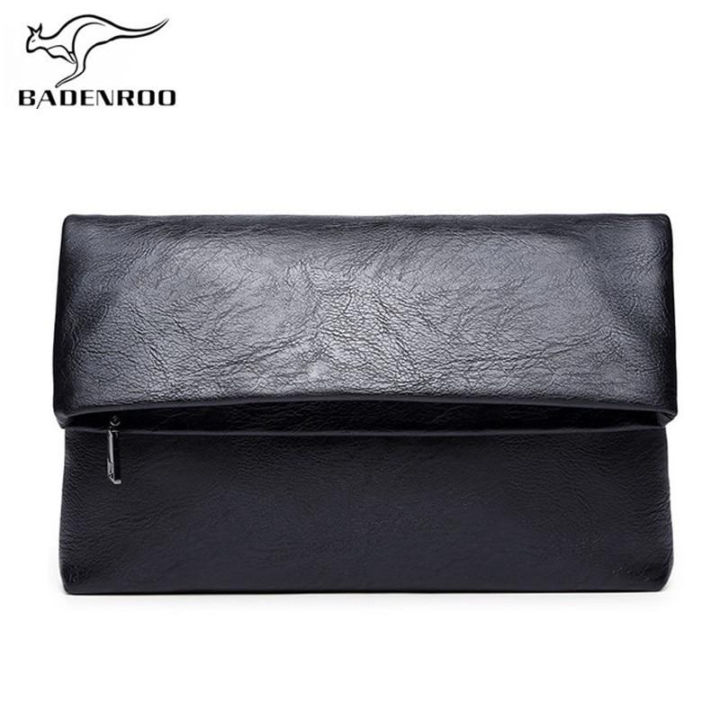 Мужская сумка-конверт Badenroo, простой клатч-кошелек, удобная сумка, брендовые кожаные сумки, повседневные клатчи, мужские большие кошельки, су...