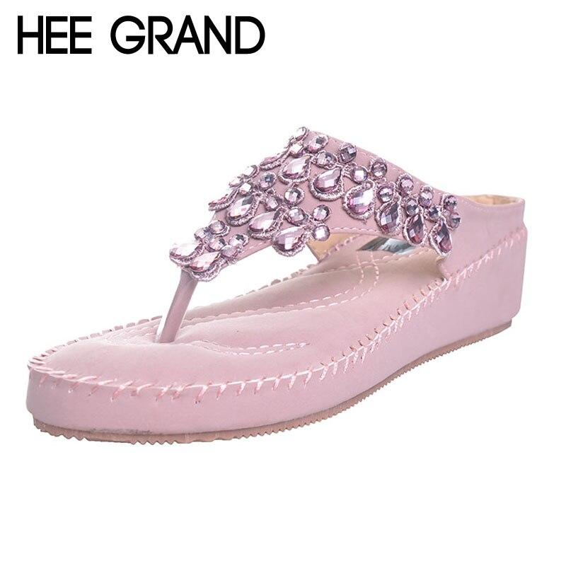 HEE GRAND Princess Rhinestone Woman Flip Flops Summer Style Girls Women s Shoes 5cm Heel Casual