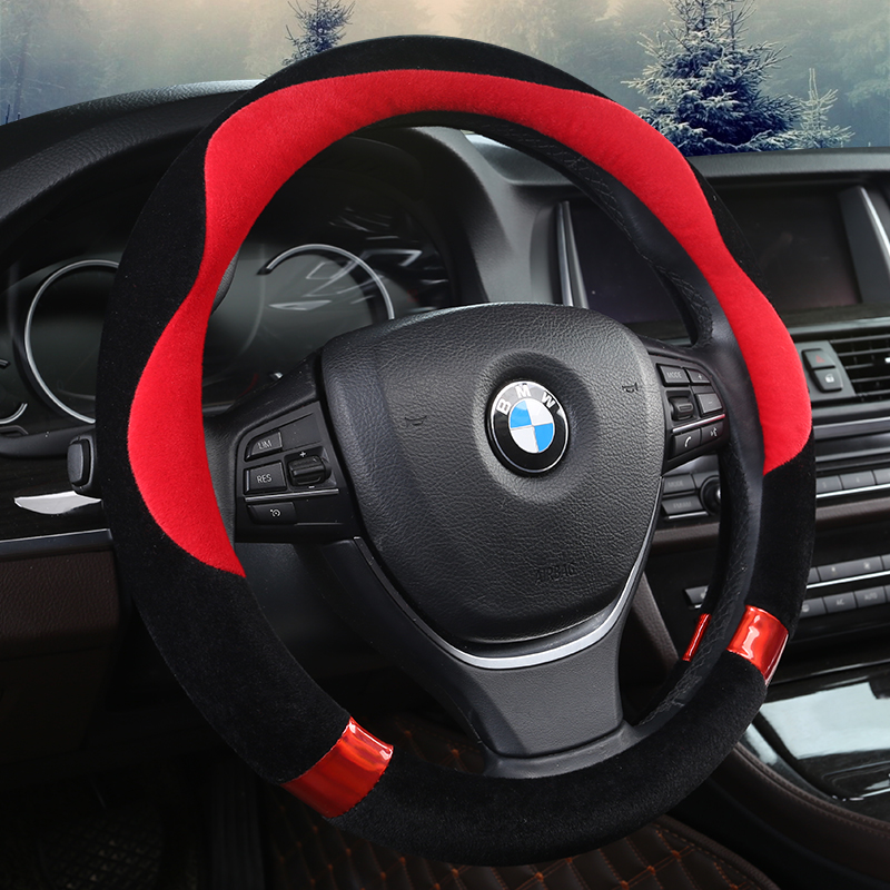 KKYSYELVA 3PCS/SET PLUSH Car steering wheel cover Winter Black Auto Interior Accessories 38cm Automobiles Steering-wheel Covers