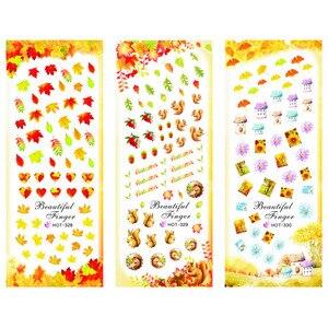 Image 1 - 3 paquets/LOT or automne feuille dérable ongles croix tatouages autocollant eau décalcomanie NAIL ART HOT328 330