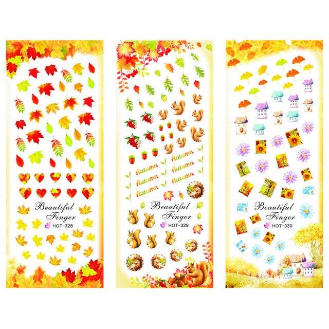 3 paquets/LOT or automne feuille dérable ongles croix tatouages autocollant eau décalcomanie NAIL ART HOT328 330