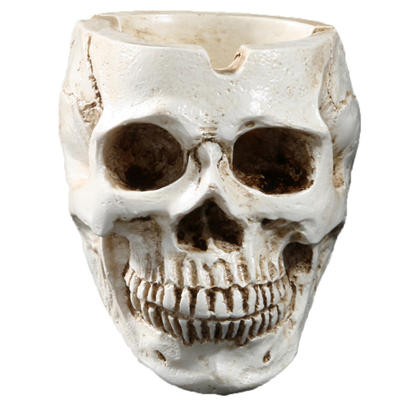 Skull Shaped Resin Ashtray Unique Home Ornament Halloween Props Skull Resin Crafts Decorative Supplies