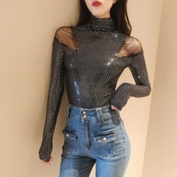 Sexy Korea Women Retro Ripped Mesh Shoulder Slim Black Tops Tees Female Bling Sequins Long Sleeve Turtleneck Bottoming Shirt