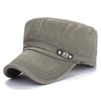 HT1740 Fashion Adult Caps High quality Washed Cotton Adjustable Solid Color Military Hat Unisex Army Caps Men Women Flat Top Cap