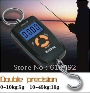 45kg Double Precision Hook Electronic Fishing Weight Digital Scale with retail box Free Shipping