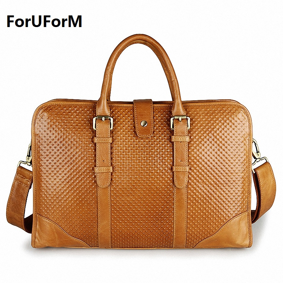 Genuine Leather Men bags vintage 15 inch laptop business handbags men's leather briefcase men's messenger bag 2017 NEW LI-1267