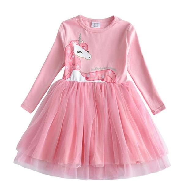 VIKITA Kids Long Sleeve Dresses for Girls Party Dress Star Printed Birthday Tutu Dresses Children Casual Wear Princess Vestidos 24