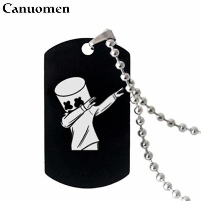 Canuo Marshmello DJ подвеска Цепочки и ожерелья черный Нержавеющаясталь ожерелья для гравировки Marshmello музыкальных фанатов сувенир колье, ювелирные изделия