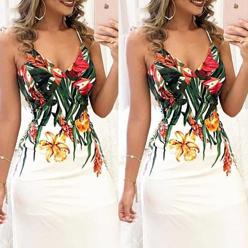 Fashion Women Summer Floral Sleeveless Strap V neck Boho Dress Casual Long Maxi Evening Party Beach Dress Sundress