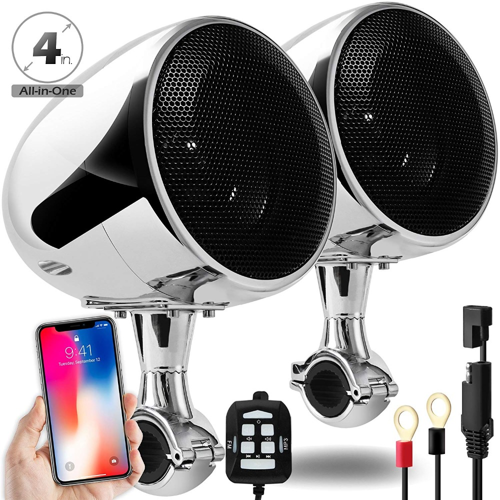 Aileap SPK350S High Performance 4 Inches 300W Waterproof Motorcycle/Scooter Bluetooth Speaker AUX MP3 Music Audio System Chrome z ben hd wireless security ip camera wifii wi fi ir cut night vision audio recording surveillance network indoor baby monitor