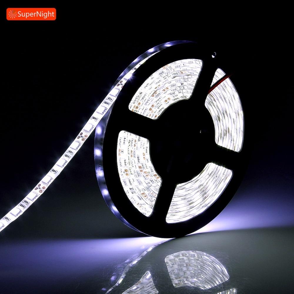 Cool White LED Strip 5050 SMD 5M 60LEDs/m DC 12V Waterproof Flexible Lamp Band Ribbon Tape LED Light Strip for Home Decoration