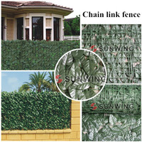 12 Sqm 4 rolls 1M*3M artificial fence covering Fake Plants Banyan Leaf Chain Link Fence Artificial Fence Hedge G0602B003C