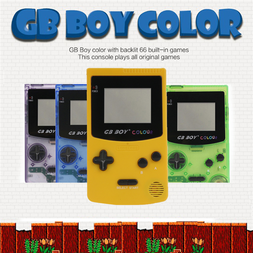 GB Boy Classic Color Colour Handheld Game Console 2.7 Game Player with Backlit 66 Built-in Games Handheld Game Player image